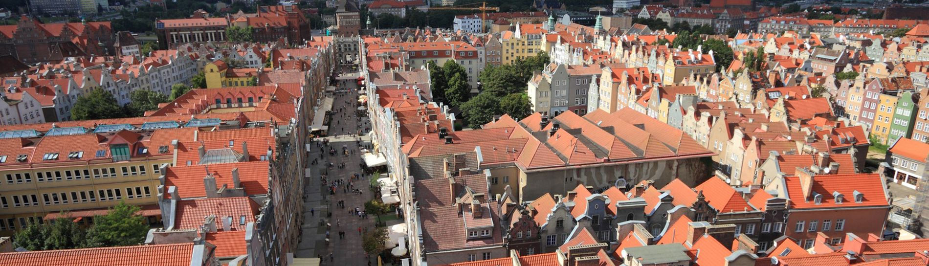 Poland - Gdansk Old Town in Pomerania region. Old town architecture aerial view.